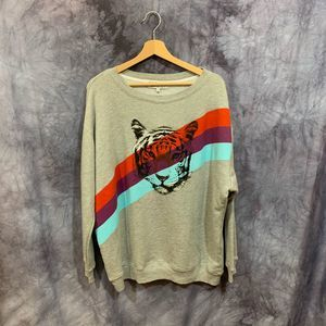 NWT Wildfox Gray Tiger Roadtrip Sweatshirt XS